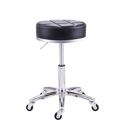 (Rfiver Adjustable Rolling Swivel Salon Spa Medical Massage Stool Chair Drafting Stools in Black SC1004-1)