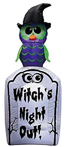 Halloween 4 ft Witches Night Out Tombstone Airblown Inflatable with Owl on Top Outdoor Yard Prop