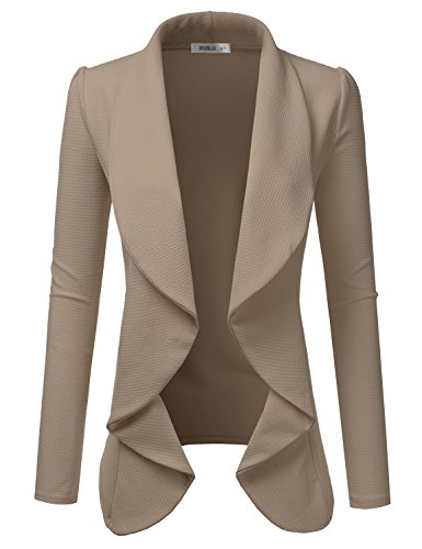 Doublju Classic Draped Open Front Blazer For Women With Plus Size MOCHA SMALL
