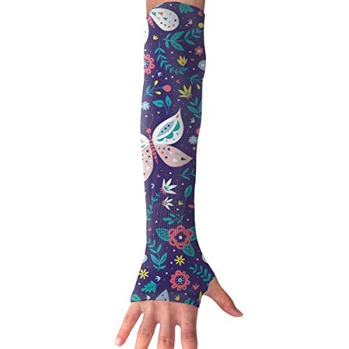 MASDUIH Flowers Butterfly Gloves Anti-uv Sun Protection Long Fingerless Arm Cooling Sleeve