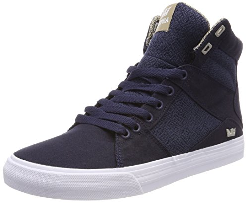 Supra Aluminium Hommes Gris Toile Haut Haut Lace Up Sneakers Chaussures Bleu Marine / Mojave-blanc