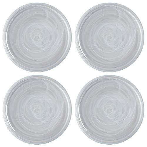 Maxwell Williams 5251569 Marblesque White Dinner Plate Set with Alabaster Swirl Effect, Handmade Glass, 26 cm (Set of 6)