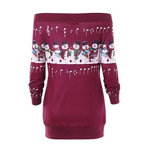 Femmes Joyeux Shirt Cou Cerf Sweat Vin Arrtez Taille l Fausser Rouge Vous Plus Magiyard Wapiti Imprim No Tqdnp5