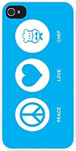 Rikki KnightTM Peace Love Chef Sky Blue Design iPhone 4 & 4s Case Cover (White Rubber with bumper protection) for Apple iPhone 4 & 4s
