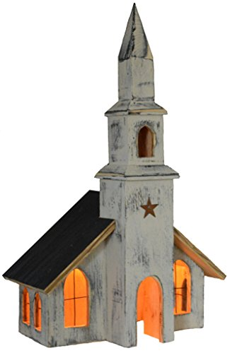 (Furniture Barn USA American Primitive Rustic Light Up Saltbox House - Valley View Church - Multiple Paint Options!)