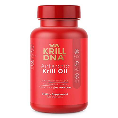 Antarctic Krill Oil by KrillDNA | 1000 mg/Serving. with Astaxanthin, Omega 3, DHA, EPA, and Phospholipids. 120 Softgels. Vanilla Coating, No Smell, No Fishy Taste | (60 Servings) (Best Krill Oil Supplement)