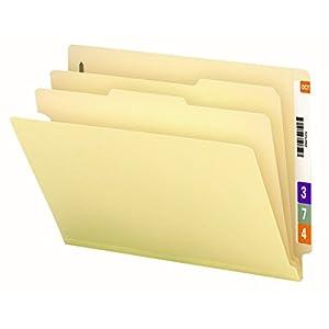 "Smead End Tab Classification File Folder, 2 Dividers, 2"" Expansion, Letter Size, Manila, 10 per Box (26835)"