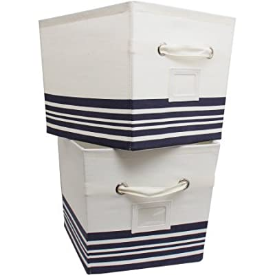 Mainstays Large Canvas Bins, 2-Pack Nautical Stripe: Home & Kitchen