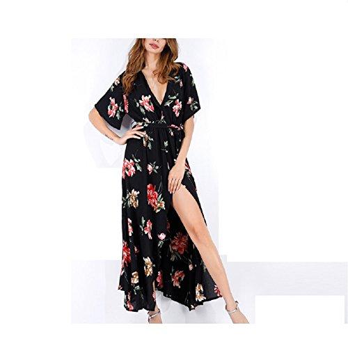 Lingjiu Robe De Plage Femmes Manches Longues Robe Courte Encolure En V Grande Taille Sexy Fendue Été Imprimée Carthame