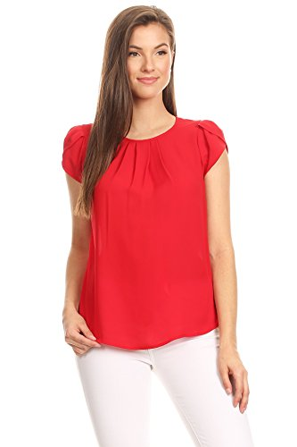 VIA Jay's Basic Casual Simple Short Puff Sleeve Relaxed Blouse TOP (Red, Large)