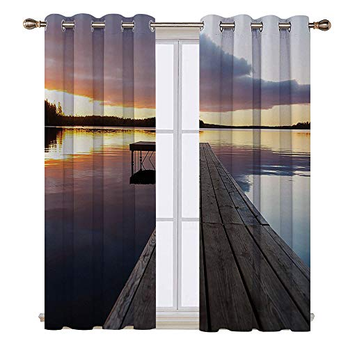 (SATVSHOP Thermal Insulating Blackout Curtain - 72W x 45L Inch-Patterned Drape for Glass Door.Horizon Sunset Over an Old Oak Deck Pier and omantic Love Calm Water of The)