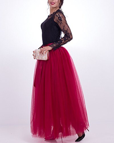 en Femme Tutu Jupon Robe Couches Jupe 7 Rtro Vintage Petticoat sous Fuchsia 100cm Tulle Comall WBYCpwqw