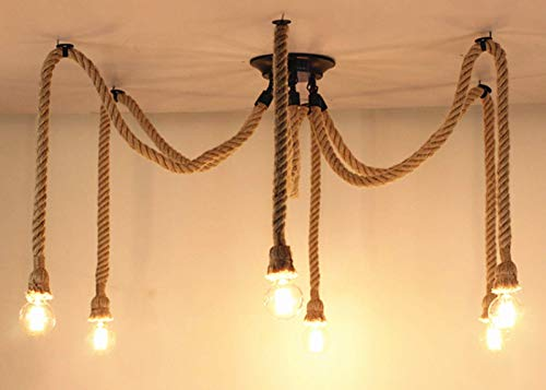 Pendant Light Hemp Rope Chandelier Vintage Ceiling Light Industrial Iron Metal Ceiling Lamp Edison E27 Loft Retro Style 6 Heads ()