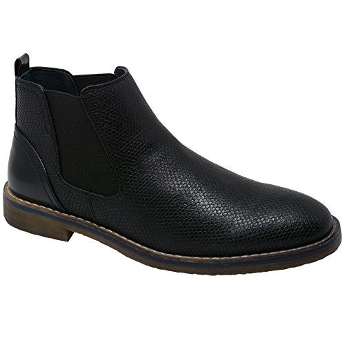 alpine swiss Men's Nash Chelsea Boots Snakeskin Ankle Boot Genuine Leather Lined BLK 12 M US