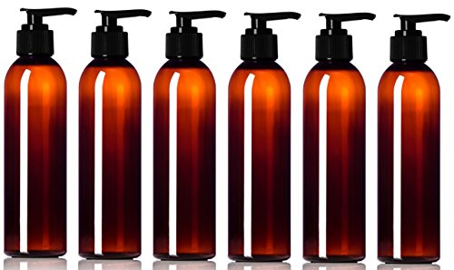 Newday Bottles, Empty Plastic Pump Bottles with Lotion Dispenser BPA-Free Made in USA (6 oz, Amber Brown, Pack of - Lotion Oz Bottle Spray 8