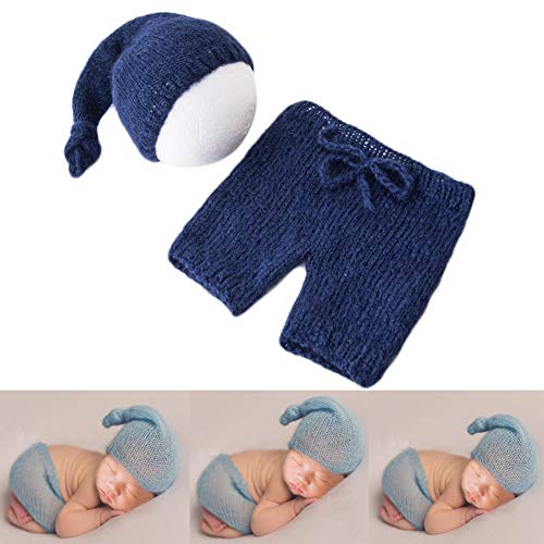 Baby Photography Props Mohair Rompers Boy Girl Photo Shoot Outfits Newborn Crochet Costume Infant Knitted Clothes (Navy)
