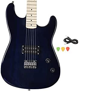 midnight blue full size electric guitar with cord and picks by davison musical. Black Bedroom Furniture Sets. Home Design Ideas