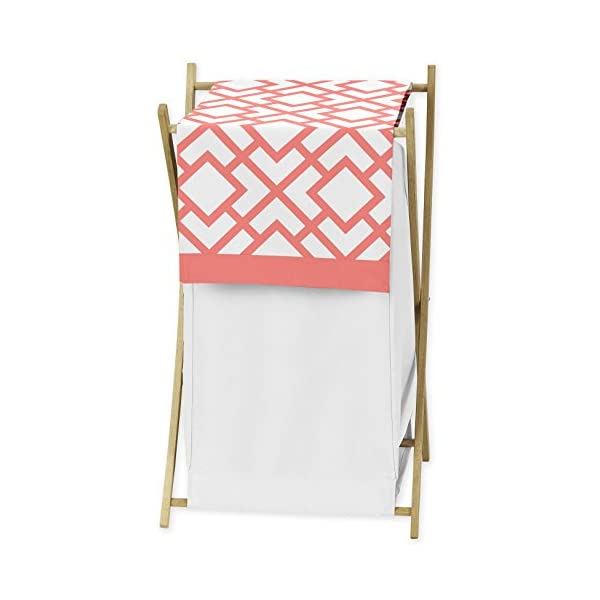 Sweet Jojo Designs Baby/Kids Clothes Laundry Hamper for Modern White and Coral Diamond Geometric Girls Bedding