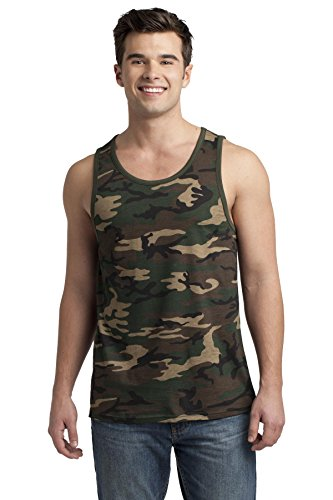 District Men's Young Cotton Ringer Tank S Military Camo/ Dark (Camo Ringer)