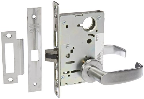 Sargent 8200 Series Satin Chrome Plated Passage or Closet Mortise Lock with L Lever, LN Rose Trim (Pack of 1) by Sargent