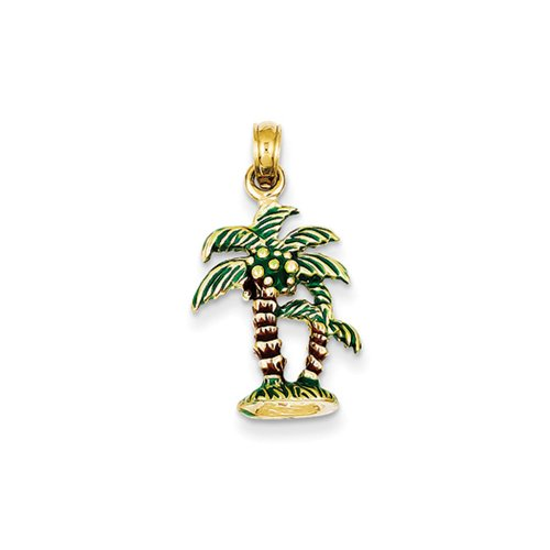 14k Yellow Gold 3D Enameled Palm Trees Pendant