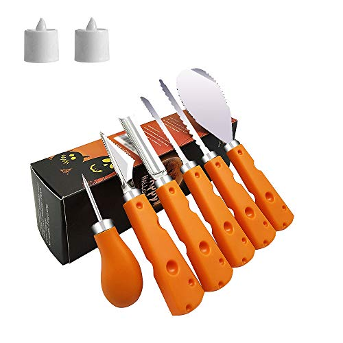 Abell Pumpkin Carving Kit for Kids 6 Easy Halloween Pumpkin Carving Tools Set 2 LED Candles