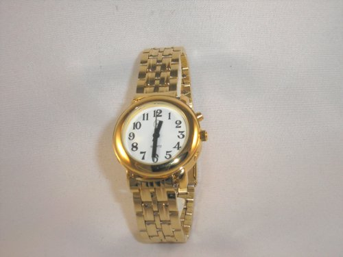 Ladies Deluxe Talking Wrist Watch Gold Tone with Bracelet Band for Low Vision or Blind