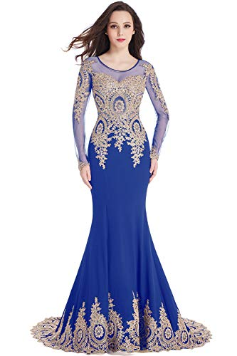 Mermaid Evening Dress Long Sleeve Gold Lace Crystals Maxi Prom Gowns Royal Blue US8