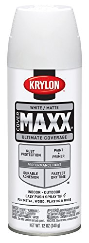 Krylon K09197000 COVERMAXX Spray Paint, Matte White, 12 Ounce