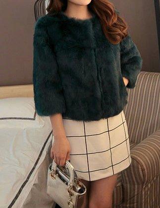 manteau femmes fonc reel fourrure court de Helan lapin Vert rex caBXffWq