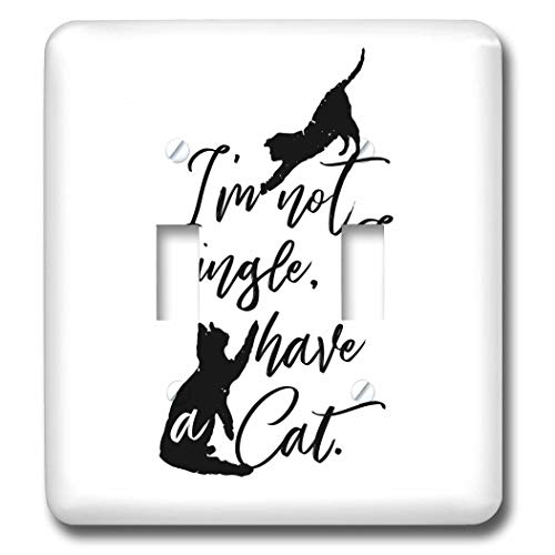 3dRose Becky Nimoy Stationery – Animals - Two cats playing hand-lettered style words, Im not single, I have cats - Light Switch Covers - double toggle switch (lsp_289193_2) by 3dRose