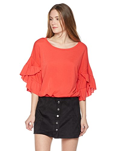 Painted Heart Women's Tulip Sleeve Knit Top Small Scarlet (Tulip Sleeve Top)