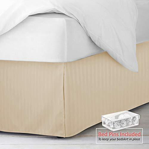 "(Nestl Bedding Pleated Bed Skirt - Damask Dobby Stripe Bed Skirt - Luxury Microfiber Dust Ruffle - 14"" Tailored Drop - Bonus Bed Skirt Pins Set of 8 Included - King, Beige)"