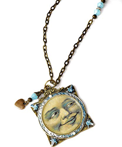 Boho Blue Moon Face Pendant Necklace with Dangling Heart Charm and Swarovski Crystal ()
