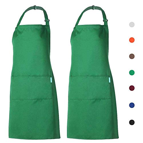 - esonmus 2 Pack Adjustable Bib Apron Waterdrop Resistant 2 Pockets Cooking Kitchen Aprons Women Men Chef (2 Pack Green)