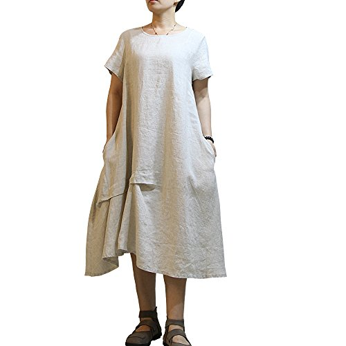 DULL-MO Women's Round Neck Floral PrintedLong SleeveLinen Loose Dress (White)