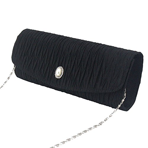 Pleated Lady Purse White Party Handbag Wiwsi Women Clutch Bag Evening Wedding Wrinkle Black 6pnqOWH