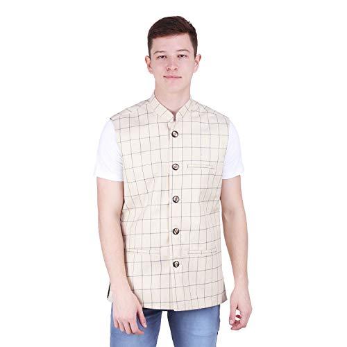 412ucmZ1bYL. SS500  - BIS Creations Men's Tweed Cotton Nehru Jacket - Waistcoat