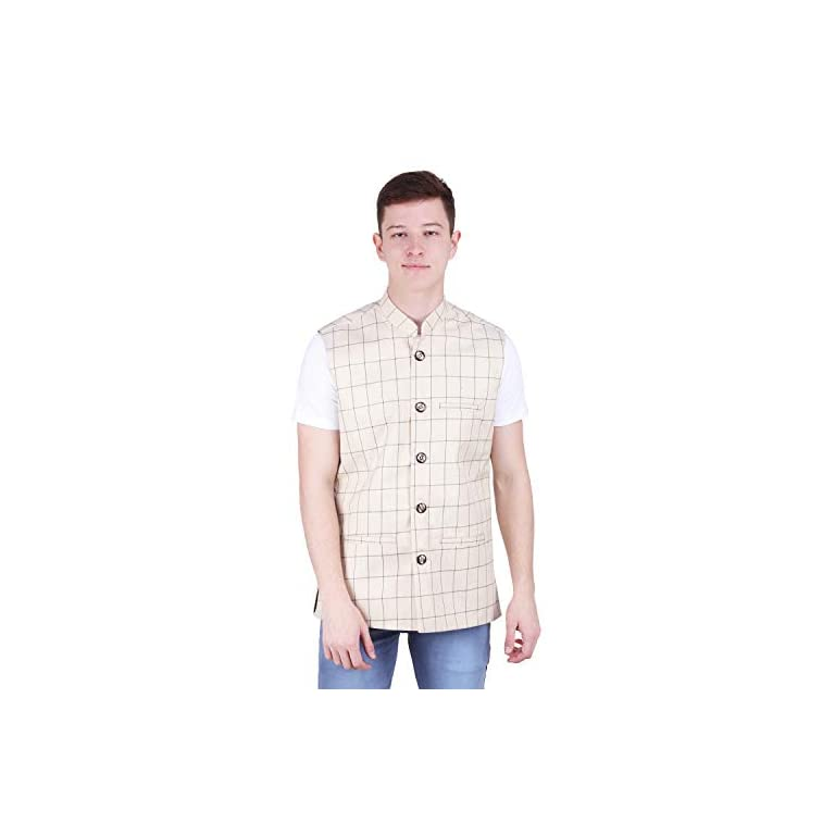 412ucmZ1bYL. SS768  - BIS Creations Men's Tweed Cotton Nehru Jacket - Waistcoat