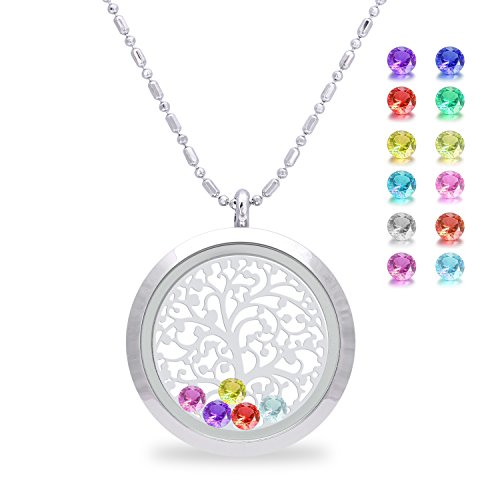Family Tree of Life Floating Charm Living Memory Lockets Pendant, Magnetic Closure Stainless Steel Birthstone Crystal Necklace DIY Jewelry (Smooth) (Family Pendant Birthstone)