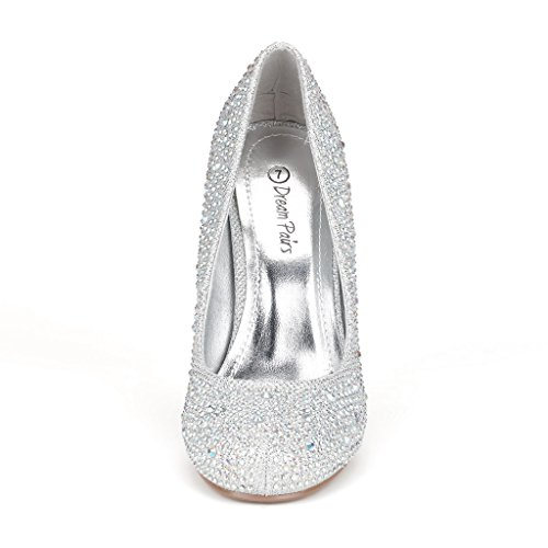 Dance Heel Shoes Women's Formal DREAM New S Evening Classic Rhinestones BERRY PAIRS SILVER Low ARPEL GLITTER Pumps ARPEL 7pttqYwv