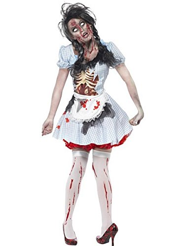 Smiffys Women's Horror Zombie Country girl Costume, Dress with Latex Chest Piece and Apron, Zombie Alley, Halloween, Size 2-4, -