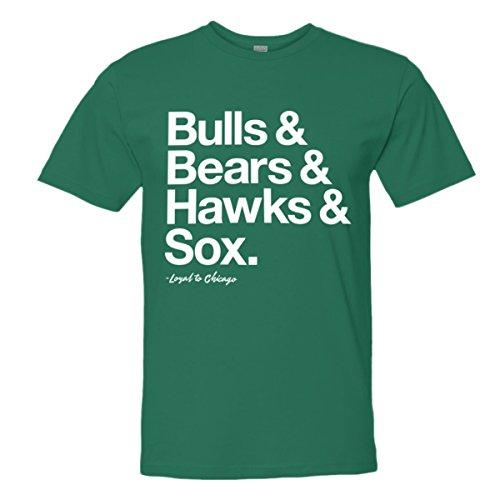 - Mens/Unisex Loyal Bulls Bears Blackhawks White Sox Ball Tee Grn-M