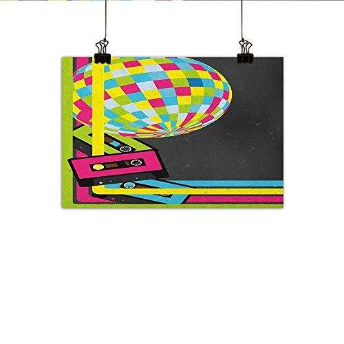 Popstar Party Art Oil Paintings Retro Party Theme Disco Ball 80s Style Audio Cassette Tapes Colorful Stripes Canvas Prints for Home Decorations 20