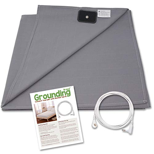 Grounding Brand Half Sheet with Grounding Connection Cord - Silver Antimicrobial Conductive Mat for Better Sleep, Natural Wellness and Healthy Earth Energy, Large 98x35.5 fits Full, Queen, King, Grey