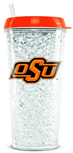 NCAA Oklahoma State Cowboys 16oz Crystal Freezer Tumbler with Lid and Straw
