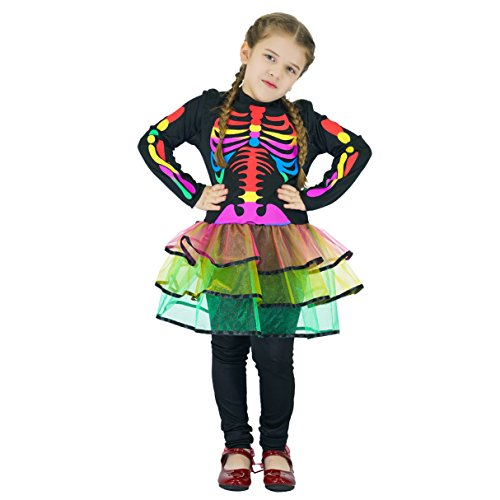 Bones Skeleton Girls Costumes (flatwhite Skeleton Girls Costume With Multi-coloured Bones (10-12Y))