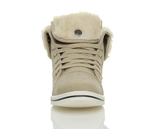 Beige Lacets Chaussures Sportif Baskets Femmes Ajvani Repliables De Montantes Taille Fourrure Tennis Pxq6wT7