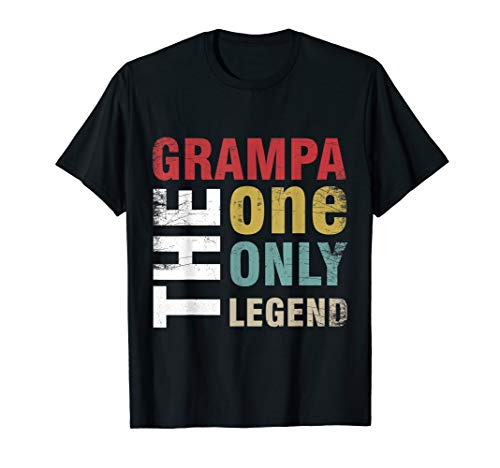 Mens Grampa The One The Only The Legend Shirt Papa Fathers Day