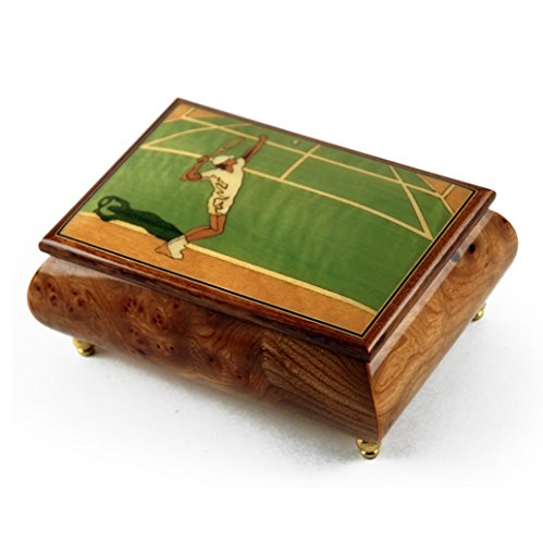 Sports Theme Wood Inlay: Tennis - Over 400 Song Choices - Collectible 18 Note Musical Jewelry Box Superstar Swiss